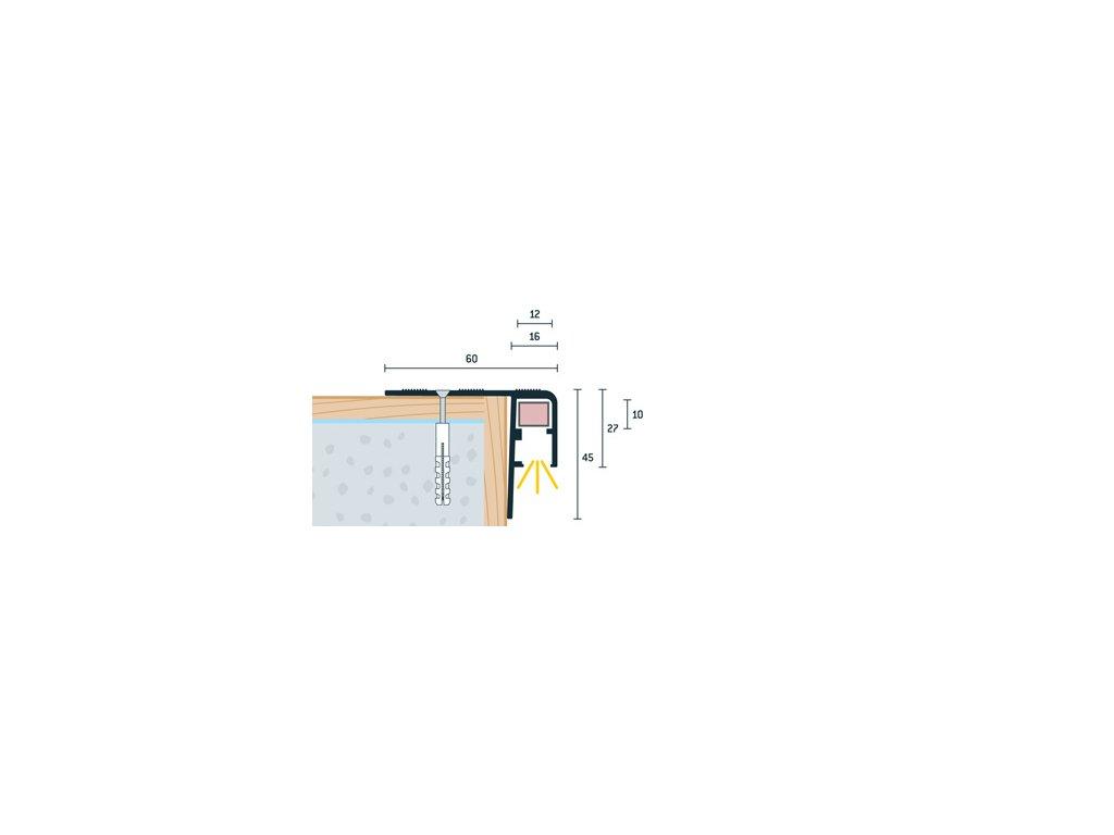 Strieborný Matný Schodový profil vŕtaný pre LED osvetlenie 60x45 mm,iník, dĺžka 300 cm