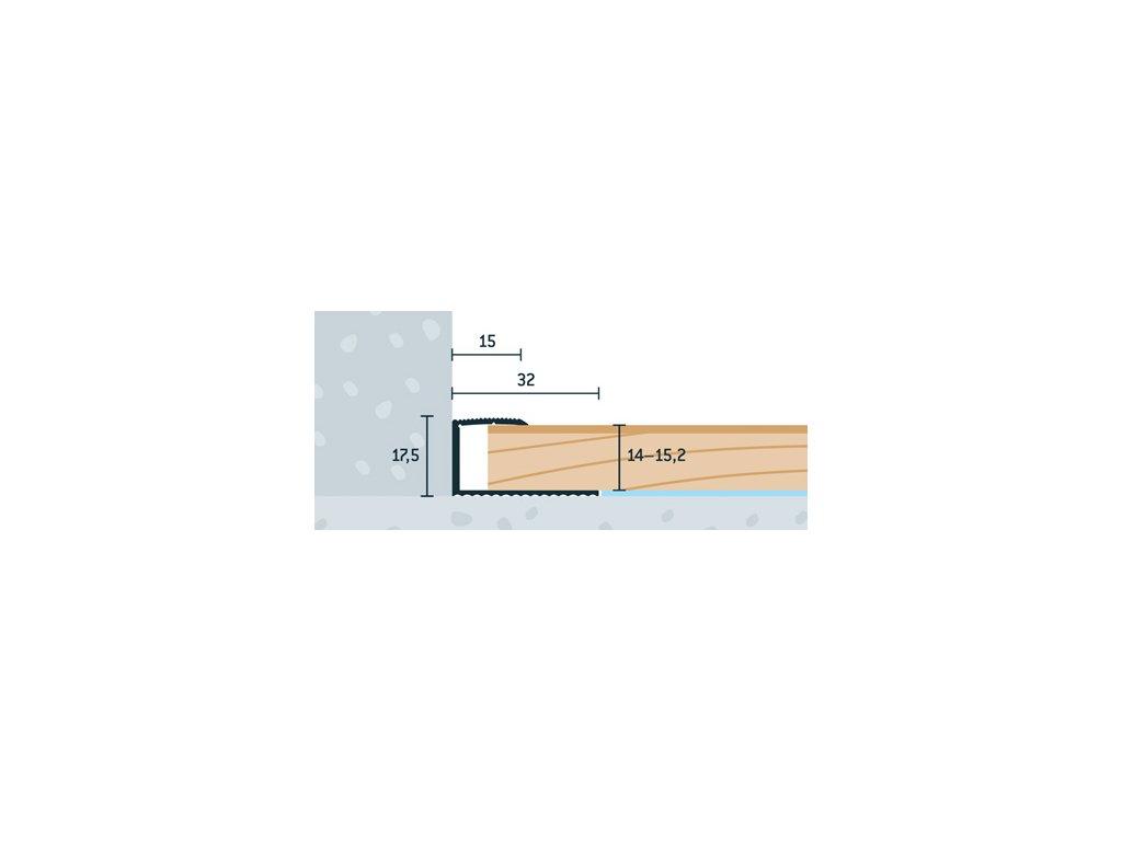 Zlatý Matný, Ukončovací profil 32x17,5 mm, hrúbka 14 - 15,2 mm, dĺžka 270 cm