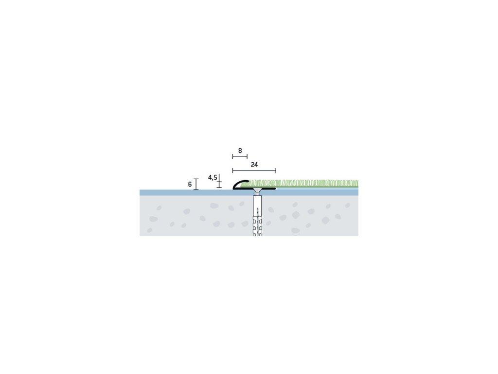Strieborný Matný, Ukončovací profil vŕtaný 24x6 mm, hrúbka 4,5 mm, dĺžka 270 cm