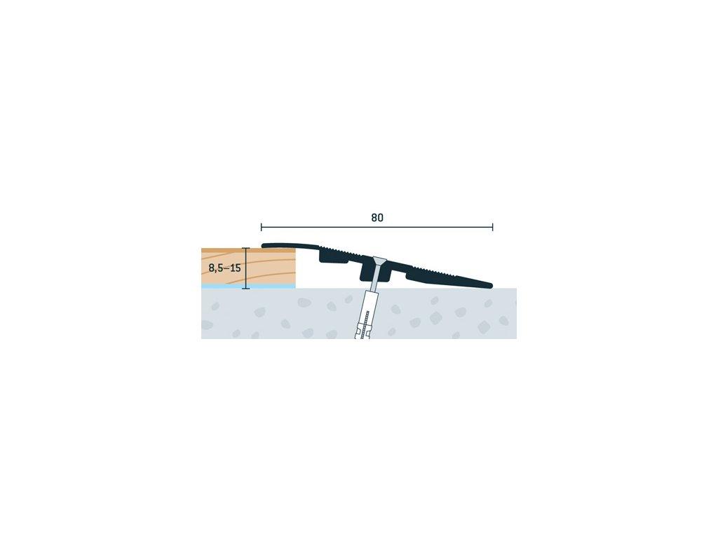 Strieborný Matný, Ukončovací profil vŕtaný 80x17 mm, hrúbka 8,5 - 15 mm, dĺžka 270 cm