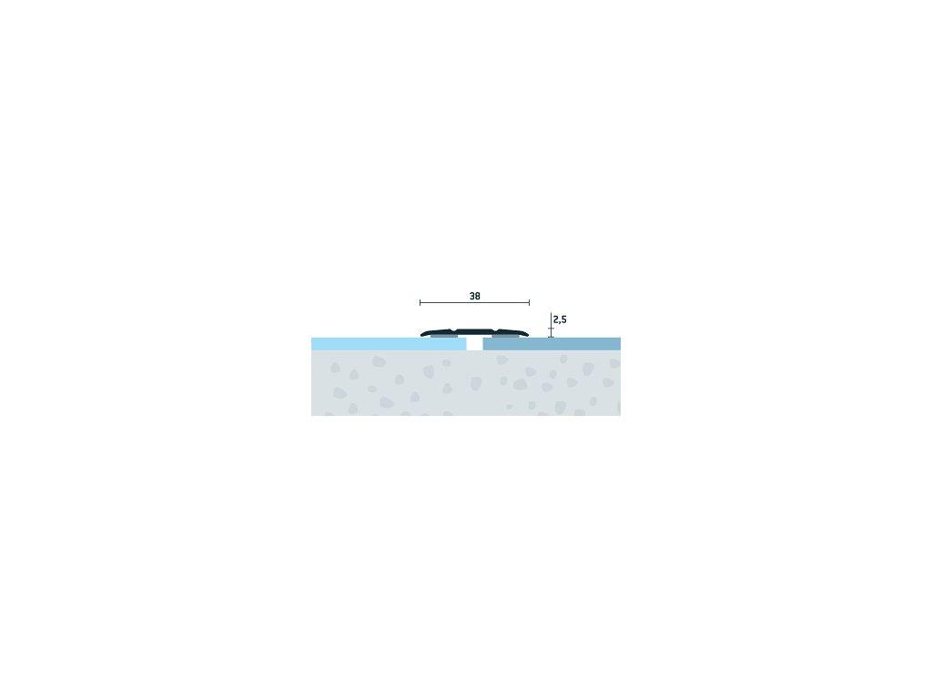 Šampanský Matný, Prechodový profil samolepiaci 38x2,5 mm, dĺžka 270 cm