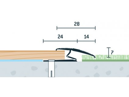 Strieborný Matný, Prechodový flexi profil vŕtaný 28x13 mm, dĺžka 270 cm