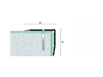 Strieborný Matný Schodová hrana vŕtaná 55x47 mm, dĺžka 250 cm