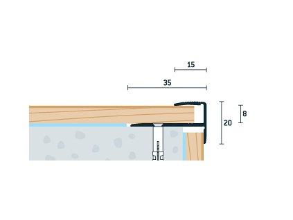 Buk Sylvatica Schodový profil 35x20 mm, hrúbka 8 mm, dĺžka 270 cm