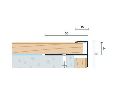 Zlatý Matný Schodový profil vŕtaný 50x30 mm, hrúbka 13-15 mm, dĺžka 250 cm