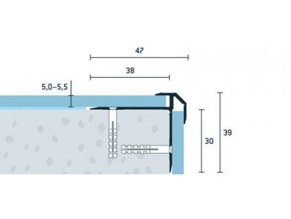 Bronzový Matný Schodový profil vŕtaný 47x39 mm, hrúbka 5,0 - 5,5 mm, dĺžka 250 cm