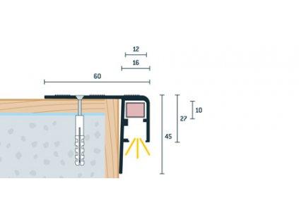 Bronzový Matný Schodový profil vŕtaný pre LED osvetlenie 60x45 mm, dĺžka 300 cm