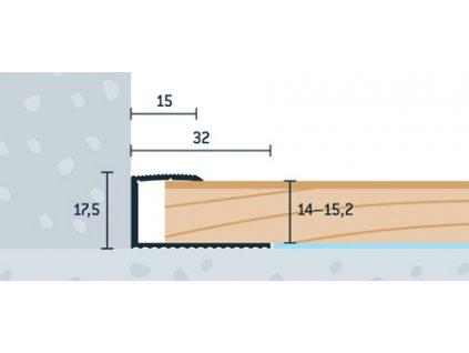 Strieborný Matný Ukončovací profil 32x17,5 mm, hrúbka 14 - 15,2 mm, dĺžka 270 cm