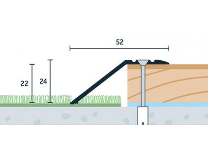 Strieborný Matný, Ukončovací profil vŕtaný 52x24 mm, hrúbka 22 mm, dĺžka 270 cm