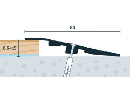 Bronzový Matný, Ukončovací profil vŕtaný 80x17 mm, hrúbka 8,5 - 15 mm, dĺžka 270 cm