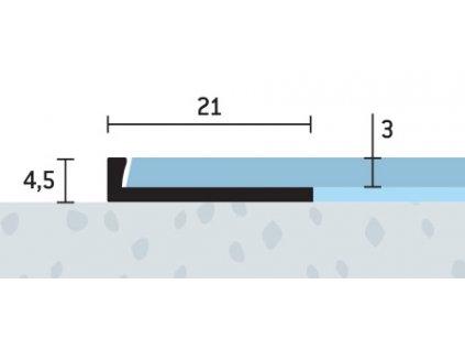 Ukončovací profil 21x4,5 mm, hrúbka 3 mm, hliník, elox strieborný matný, dĺžka 250 cm