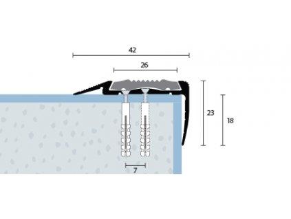 Schodová hrana dva krát vŕtaná s čiernou PVC vložkou 42x23 mm, hliník, elox strieborný matný, dĺžka 270 cm