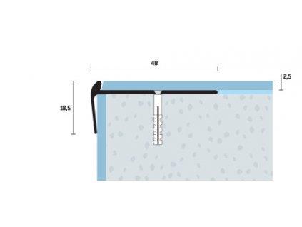 Schodová hrana vŕtaná 48x18,5 mm, hrúbka 2,5 mm, hliník, elox šampanský matný, dĺžka 250 cm