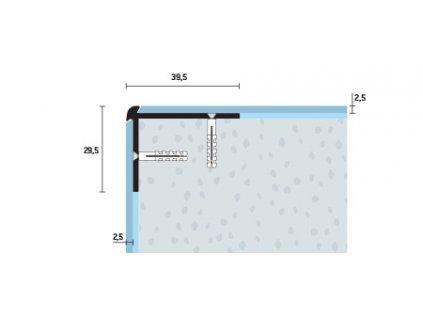 Schodová hrana vŕtaná 39,5x29,5 mm, hrúbka 2,5 mm, hliník, elox strieborný matný, dĺžka 250 cm