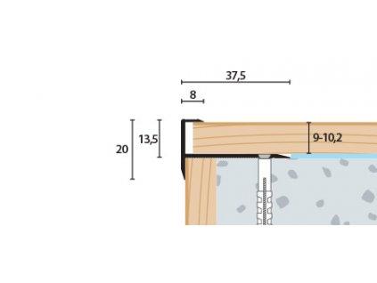 Schodový profil vŕtaný 37,5x20 mm, hrúbka 9-10,2 mm, hliník, elox strieborný matný, dĺžka 250 cm
