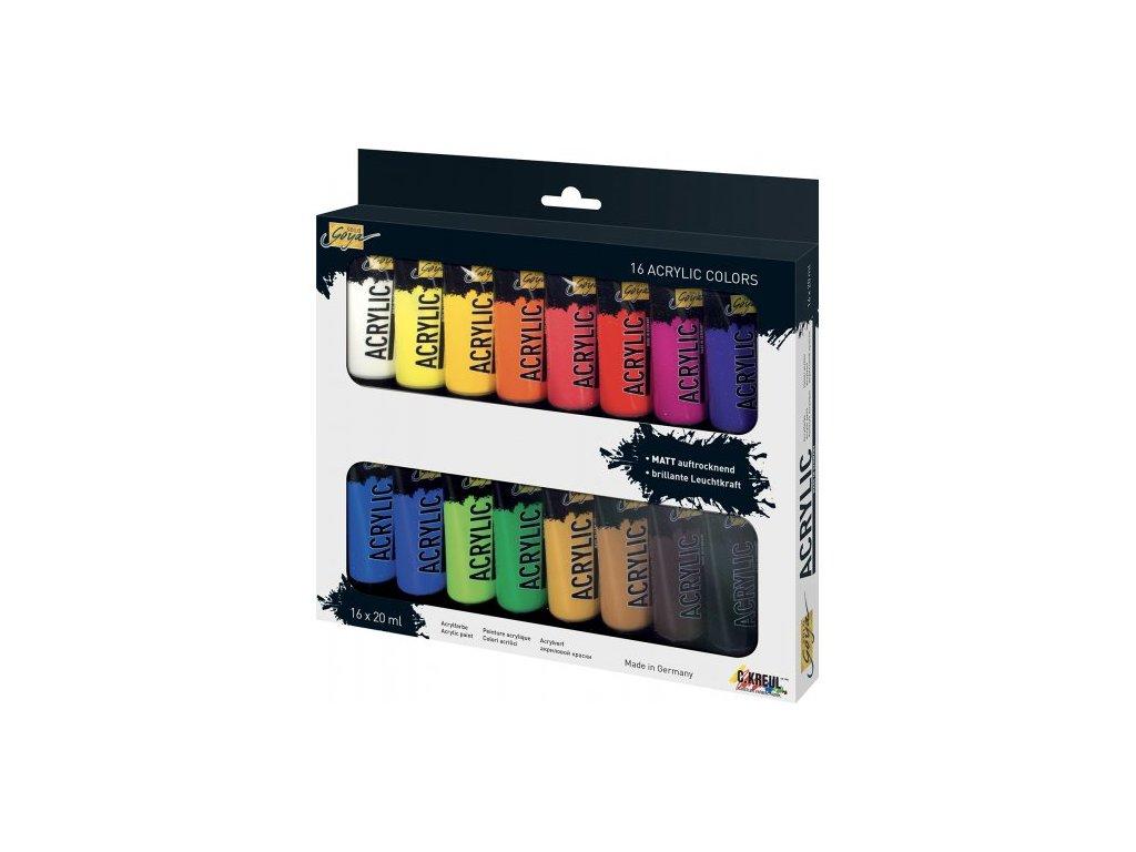 Sada Akrylová barva SOLO GOYA 20 ml v tubě 16 barev