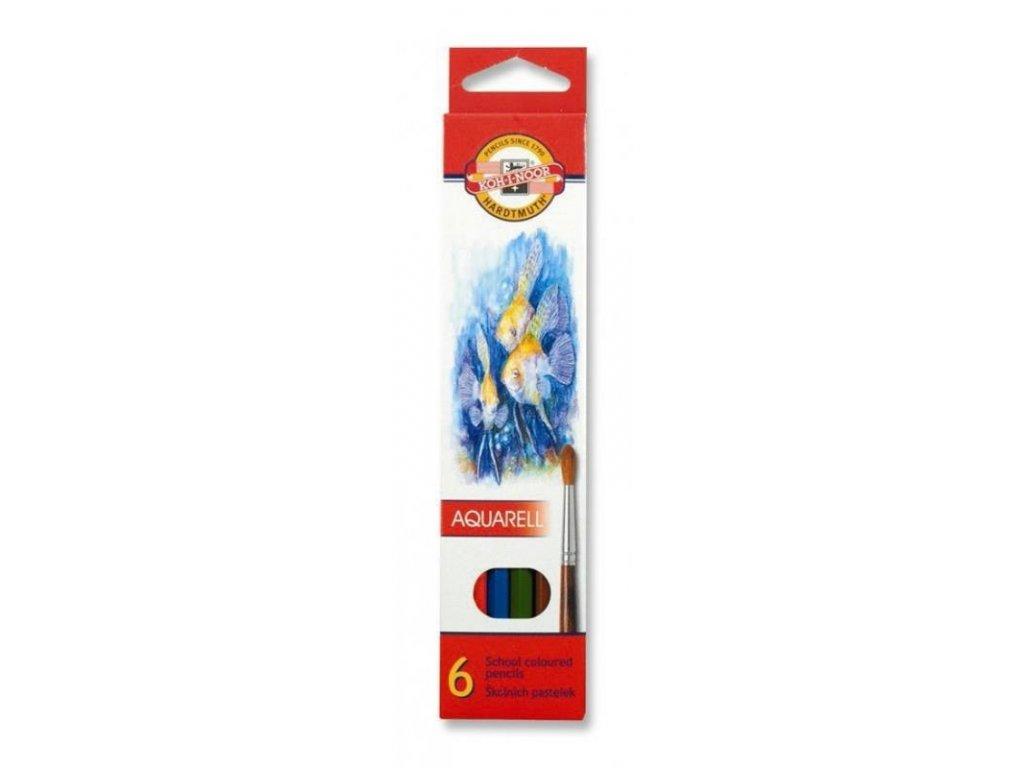 Koh-i-noor, mondeluz školní akvarelové pastelové tužky 3715 6 ks v sadě