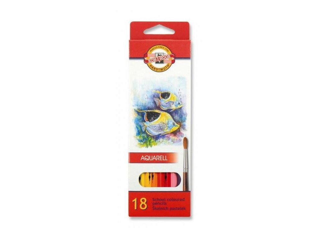 Koh-i-noor, mondeluz školní akvarelové pastelové tužky 3717 18 ks v sadě