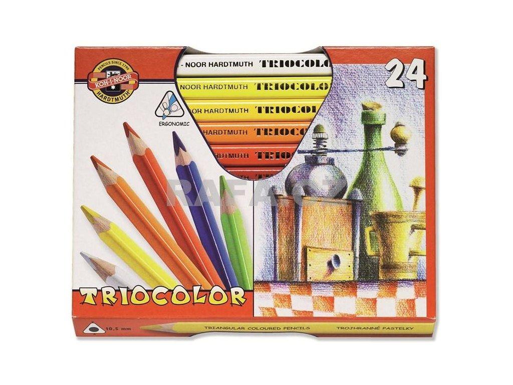 Koh-i-noor, TRIOCOLOR umělecké pastelové tužky 3154  24 ks v sadě