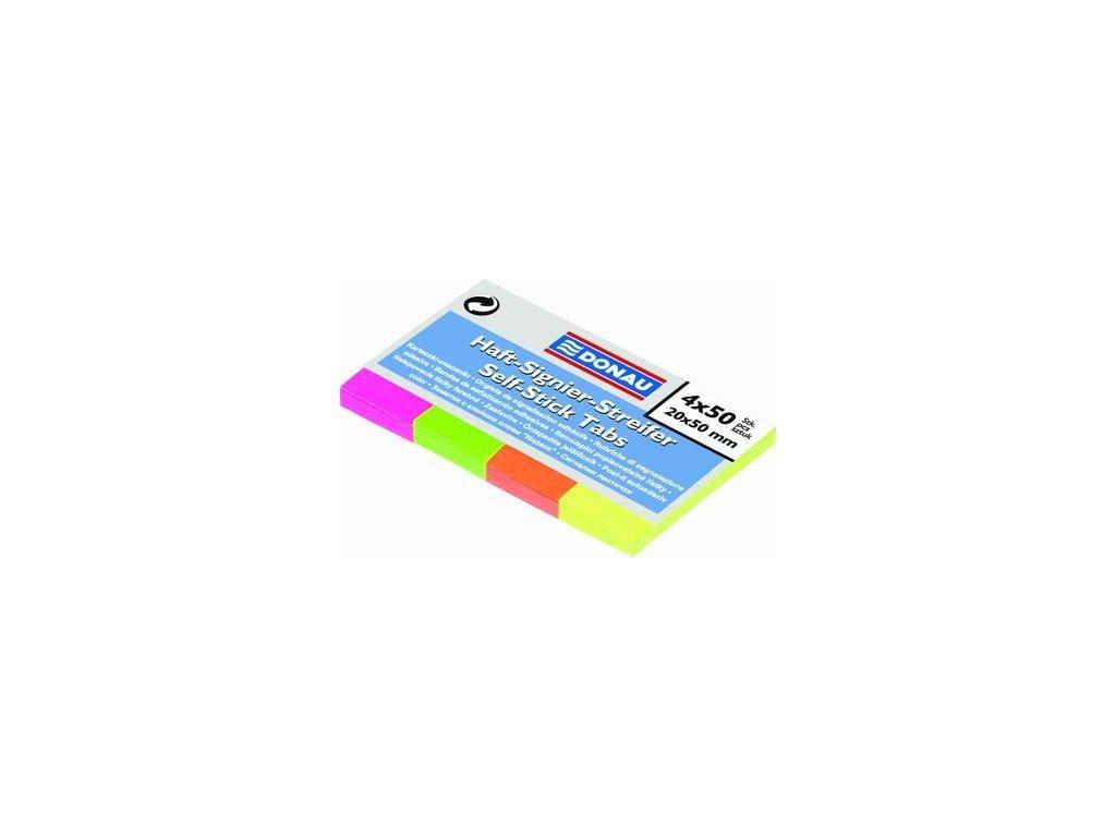 Donau, indexový samolepicí bloček 20x50 mm NEON barva 4x50 lístků