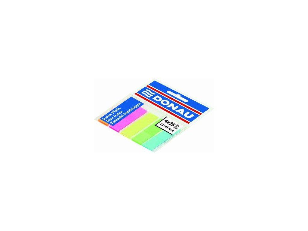 Donau, indexový samolepicí bloček 12x45 mm NEON barva 5x25 lístků