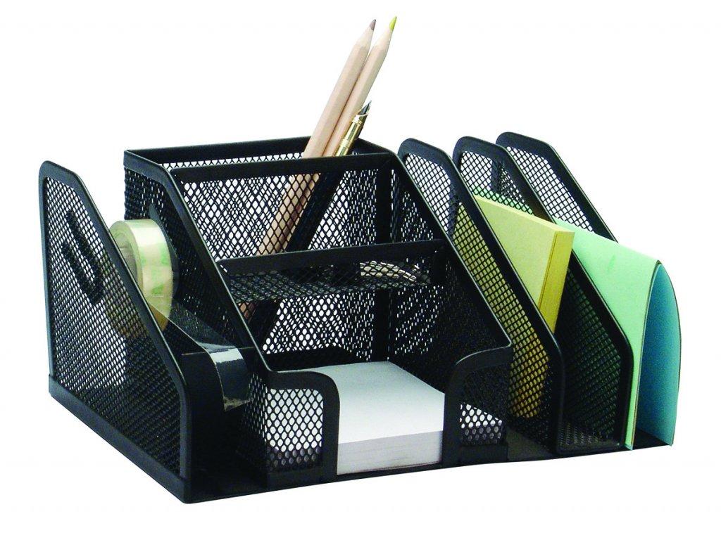 DONAU stolní zásobník, 6 přihrádky, kov, černý
