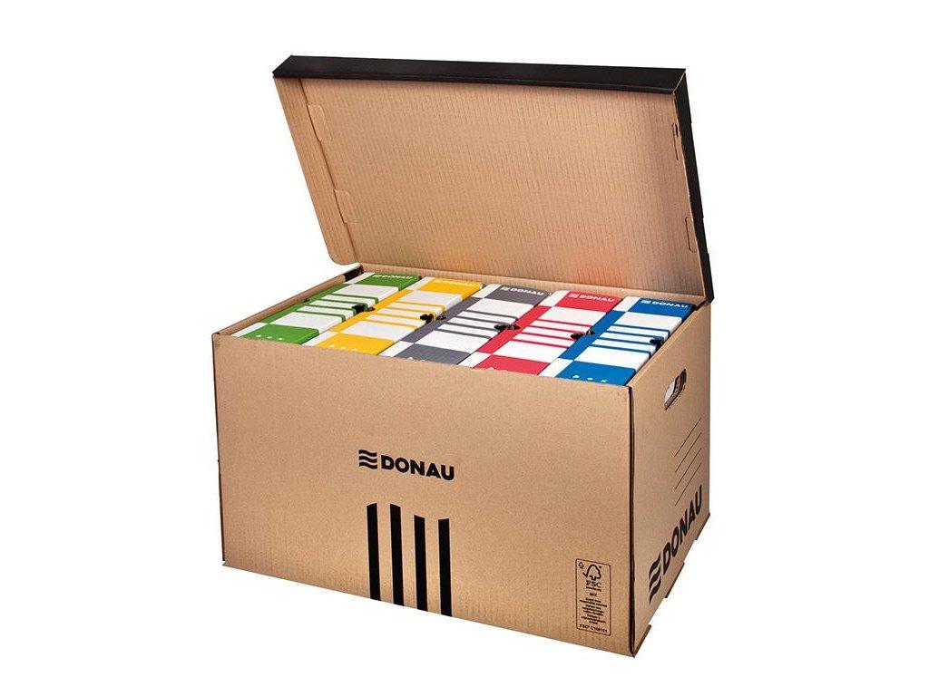 5 x Donau, hnědá archivační krabice s víkem, 555x370x315 mm