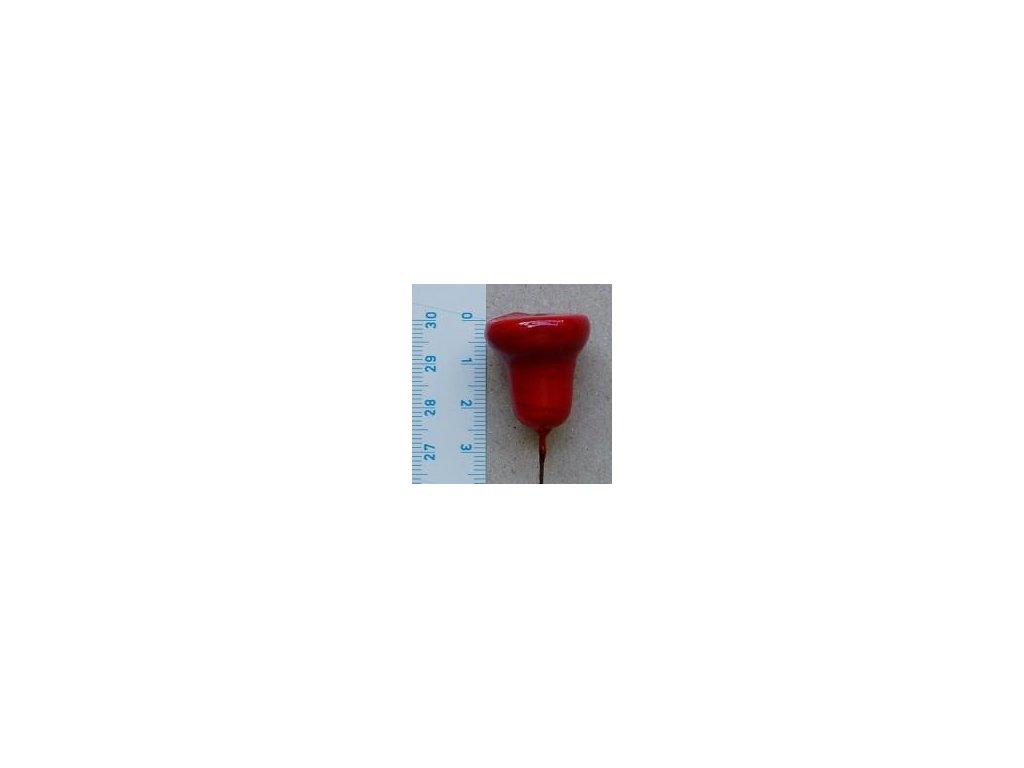 červený zvonek 25 mm z vaty, 4 ks