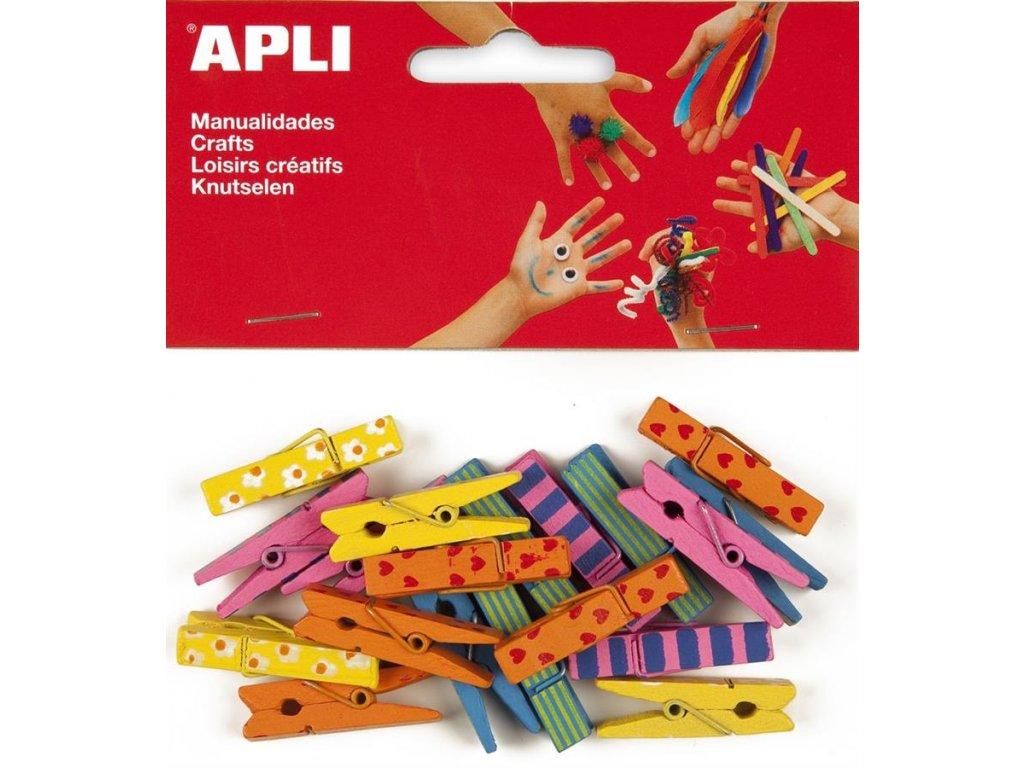 APLI, dřevěné kolíčky barevné velké