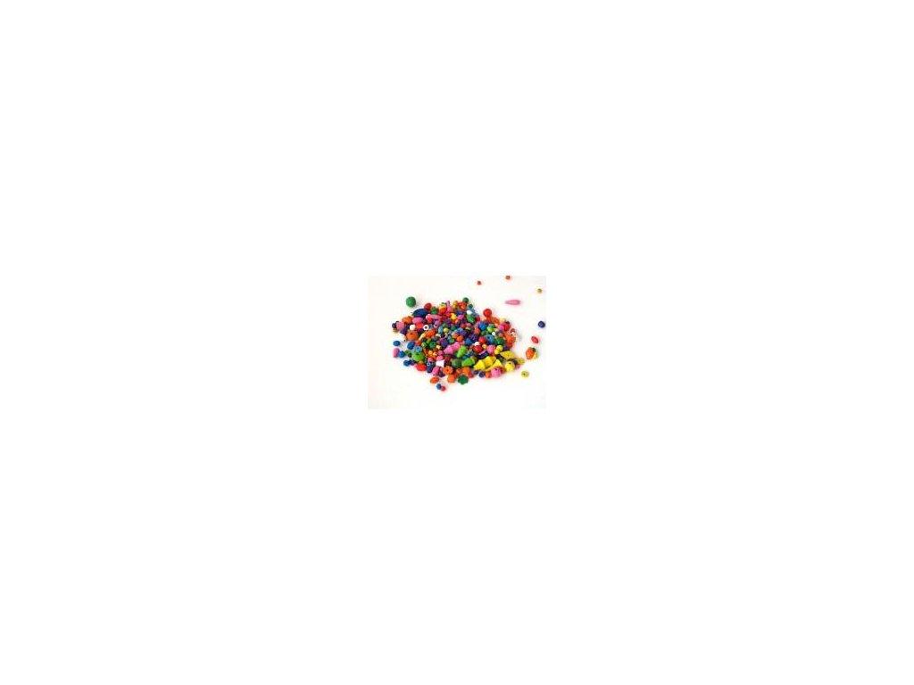 Korálky dřevo mix 200g-barva