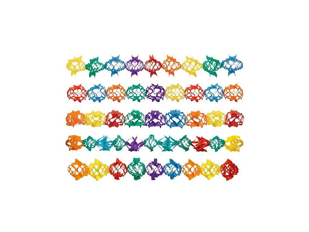 Girlanda z papíru - 17 cm x 4 m, barevná