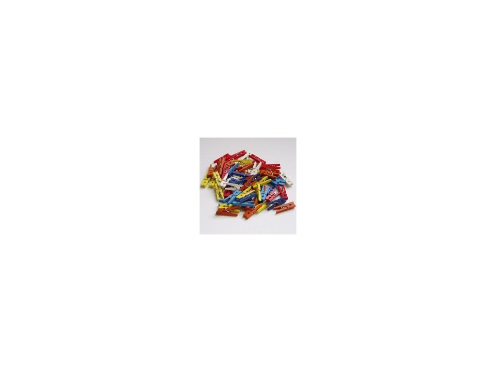 dřevěné kolíčky barevné, 25 mm, 100 ks