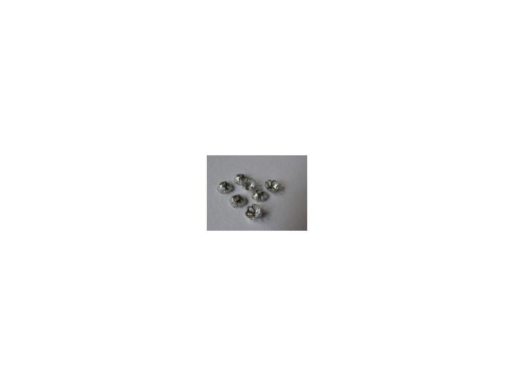 Kaplík filigrán platina 6mm, 35 ks