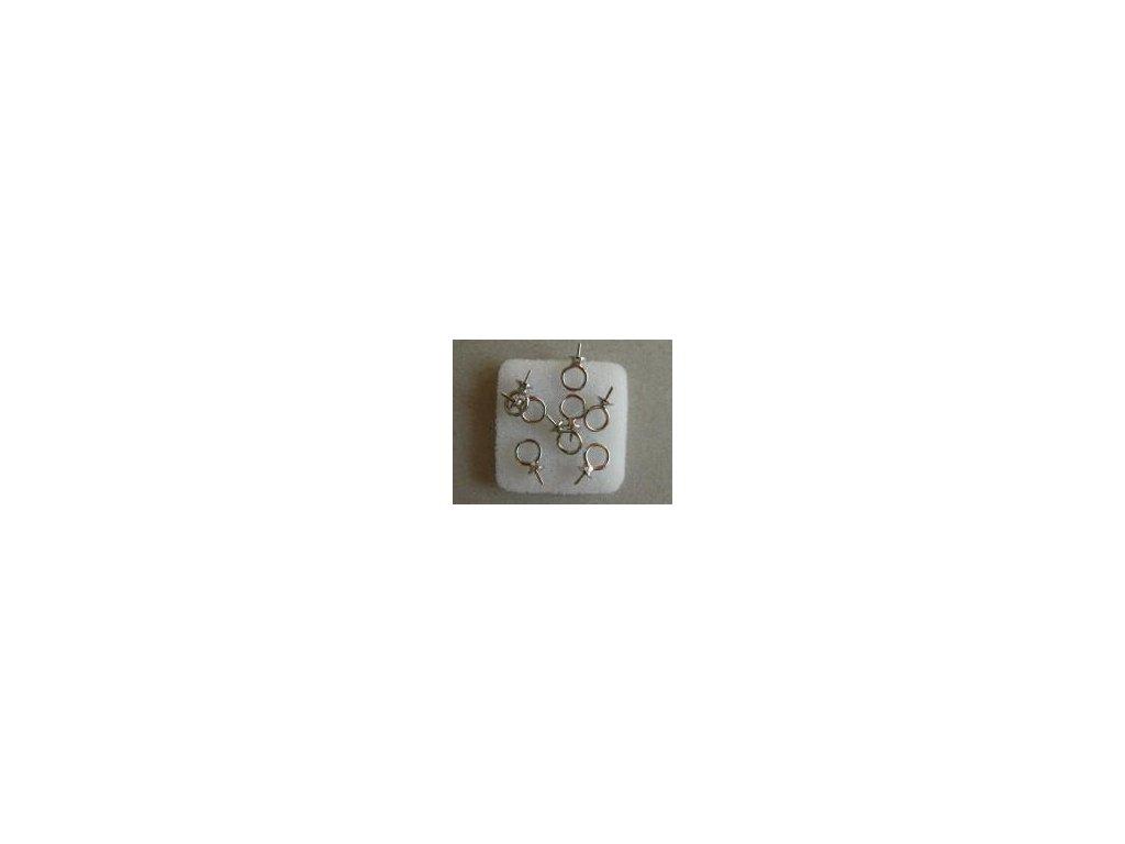 Kaplík závěs s trnem 4mm platina, 8 ks