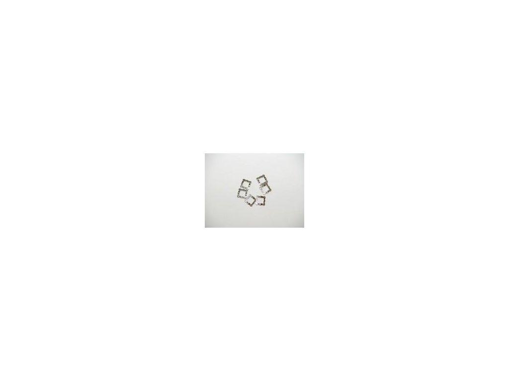 Ozdoba čtverec, 6ks, imitace stříbro
