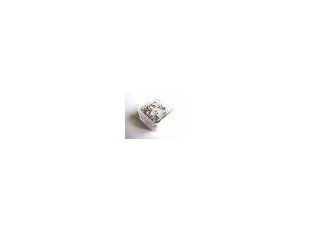 Zamačkávací rokajl, imitace stříbra, 1,5 x 1,5 cm, 100 ks