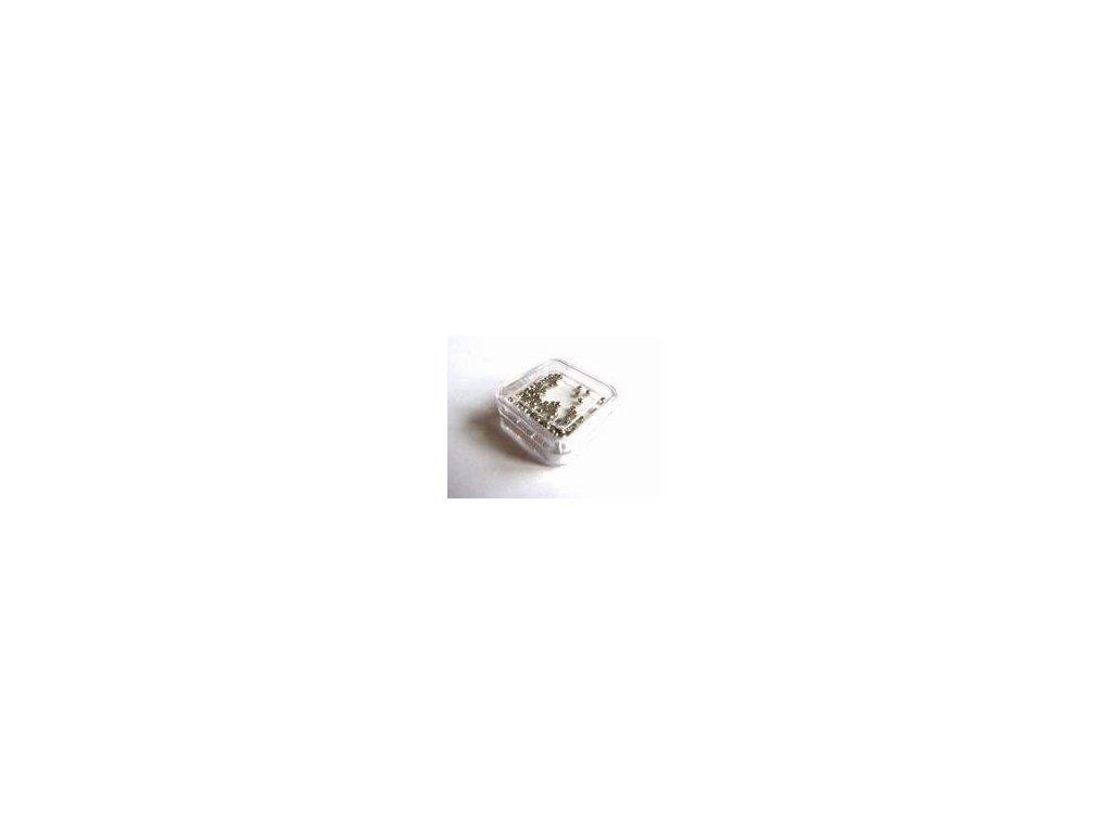 Zamačkávací rokajl kulatý, imitace stříbra, 2 mm, 100 ks