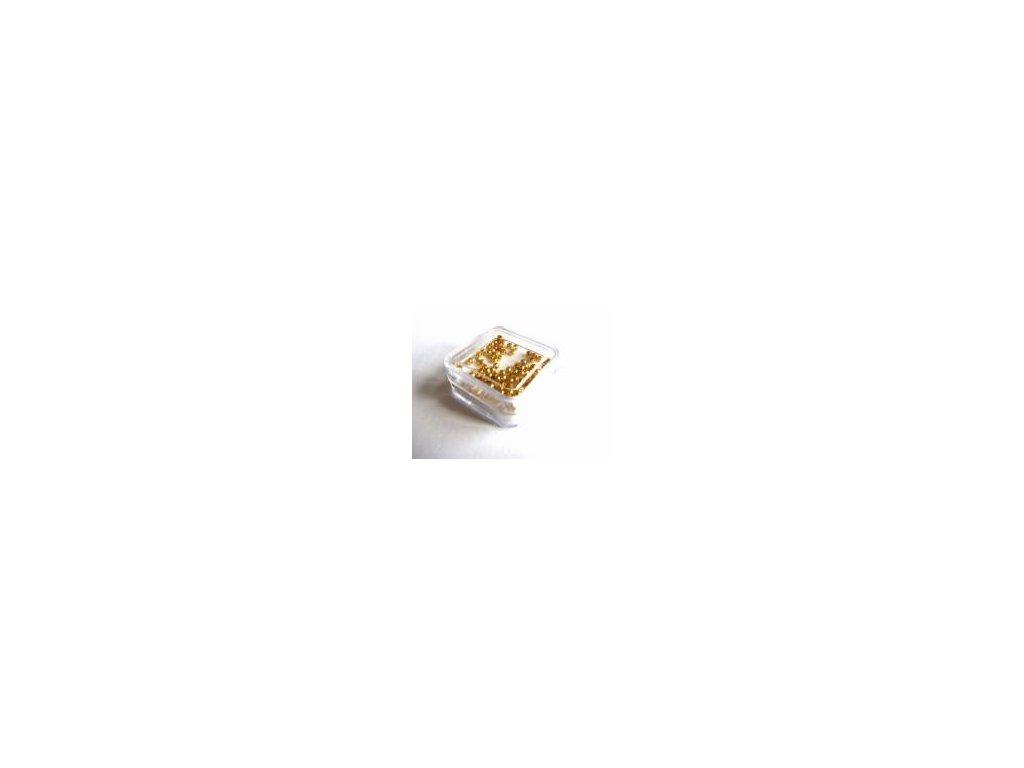 Zamačkávací rokajl kulatý, imitace zlata, 2 mm, 100 ks