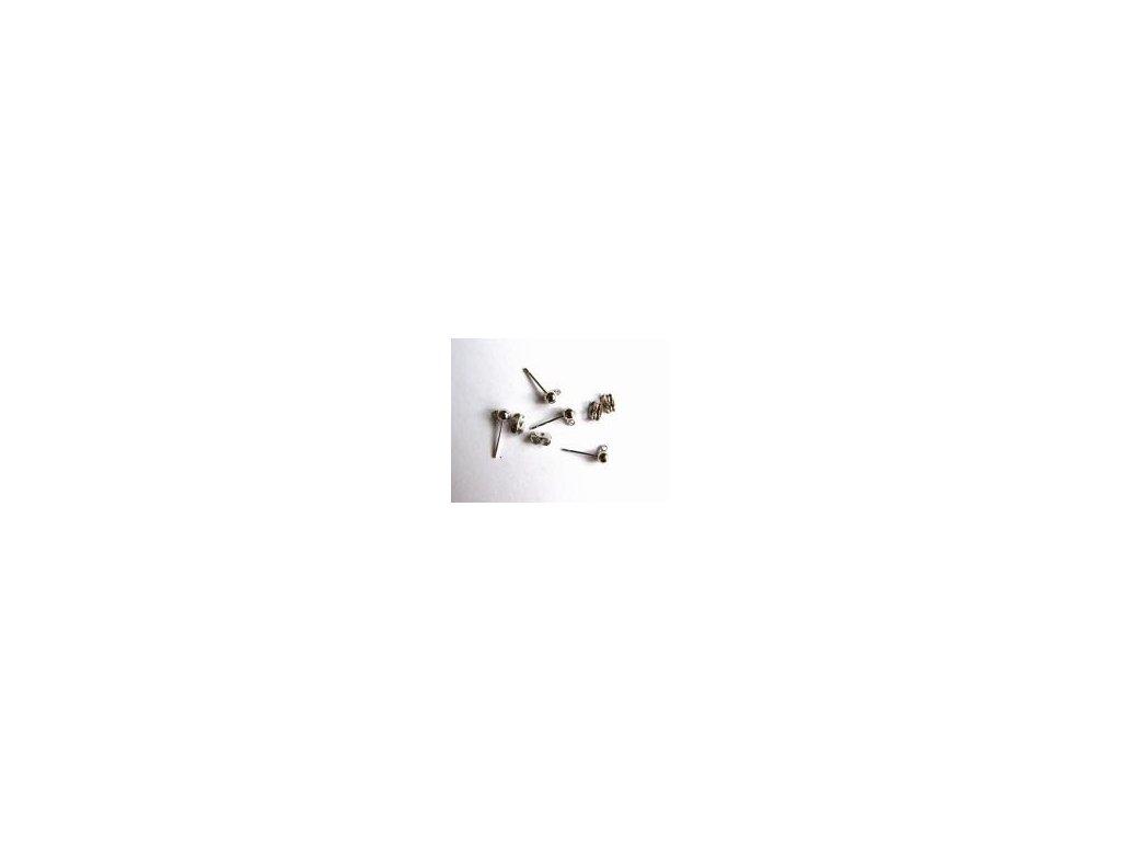 Náušnice, imitace stříbra, 1,5 cm, 4 ks