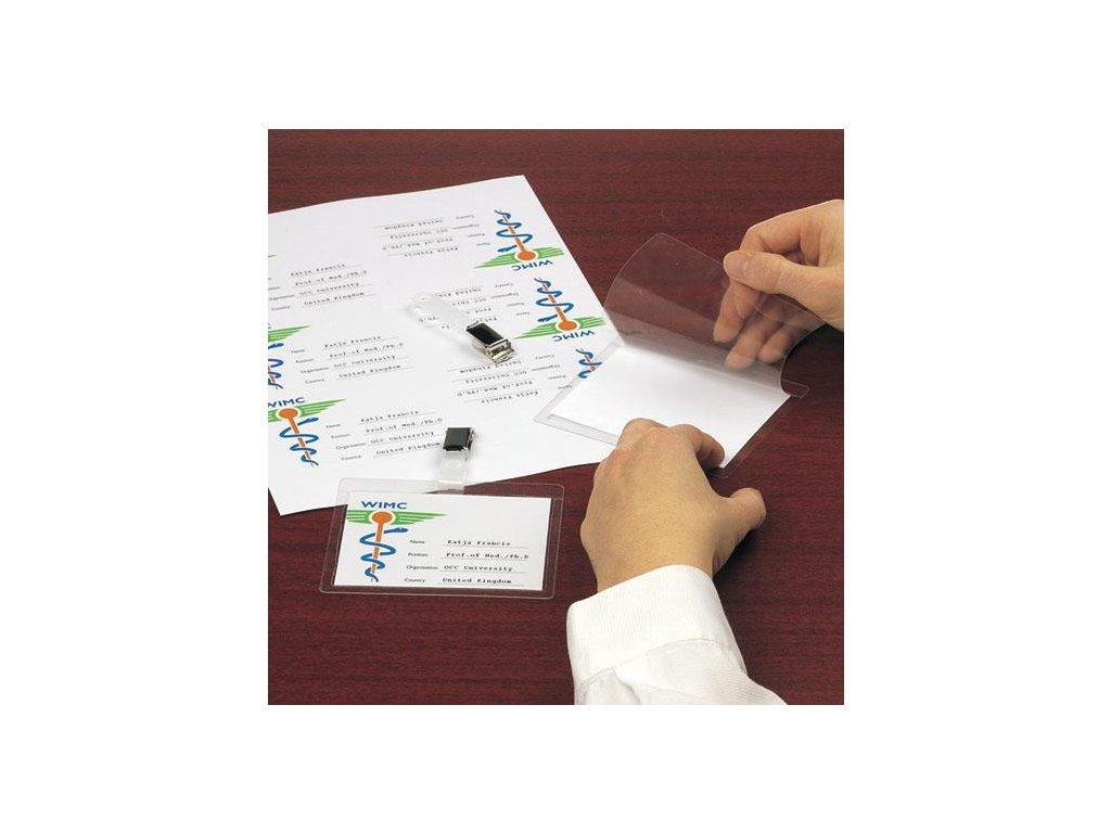 jmenovka 104x74 mm, samolaminovací, vodorovná, s klipem, se štítky