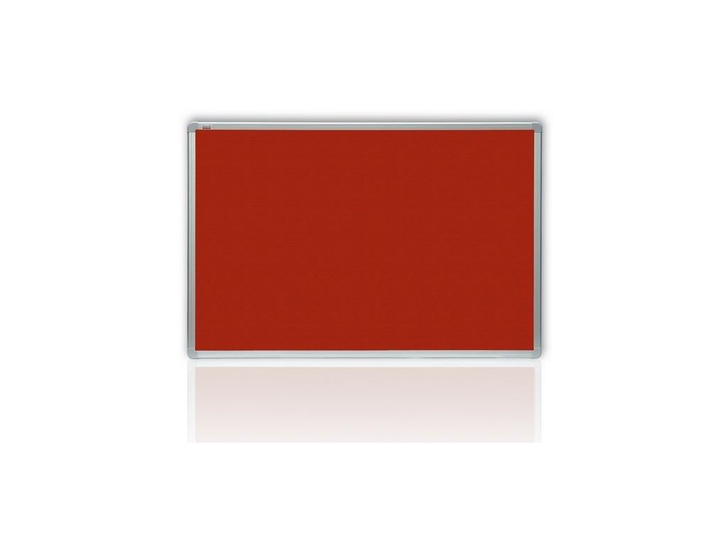 filcová tabule 120x180 cm, červená, hliníkový rám