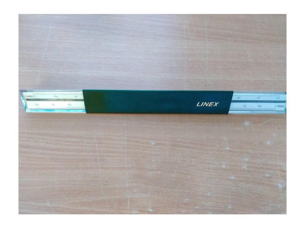 Linex, umělohmotné poměrové pravítko č.302