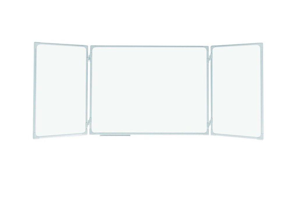 magnetická rozkládací školní tabule, trojdílná, lakovaná, triptych