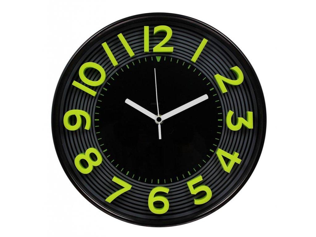 nástěnné hodiny 3D,  Ø 33 cm, černo-zelené