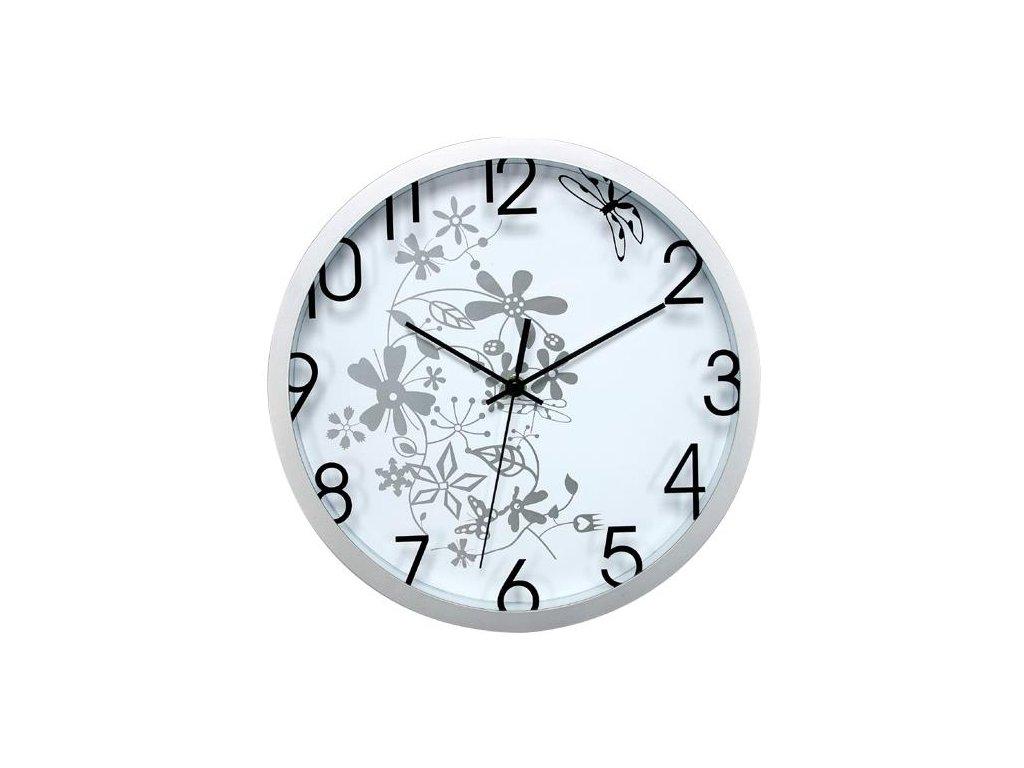 nástěnné hodiny s květinovým motivem, Ø 30 cm, bílo-stříbrné