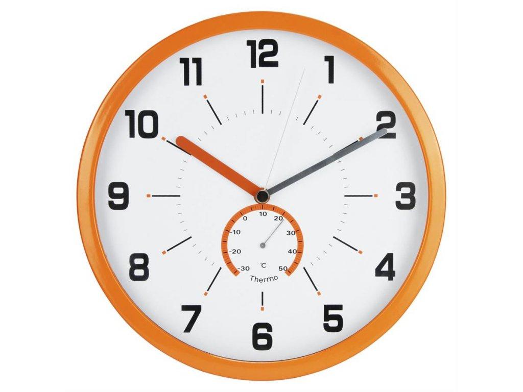 nástěnné hodiny s teploměrem, Ø 30 cm, oranžové