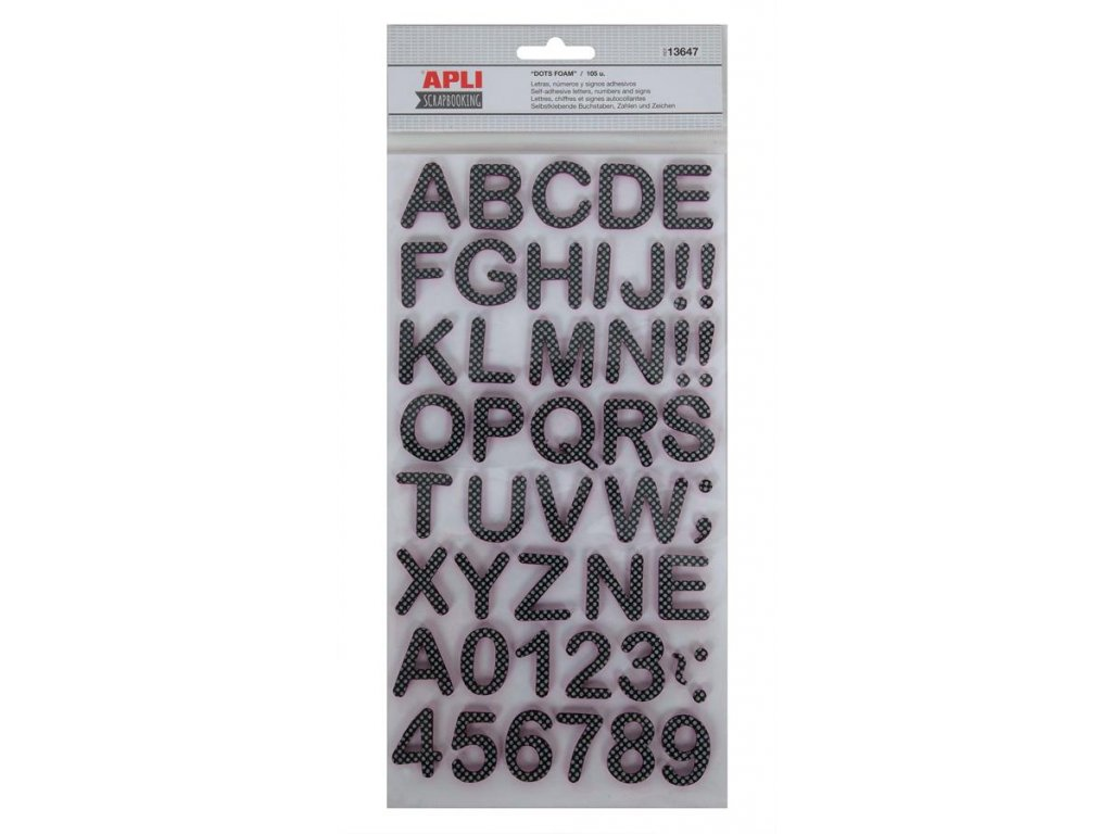 samolepicí písmena, pěnovka, 2 listy, světle šedé, blistr