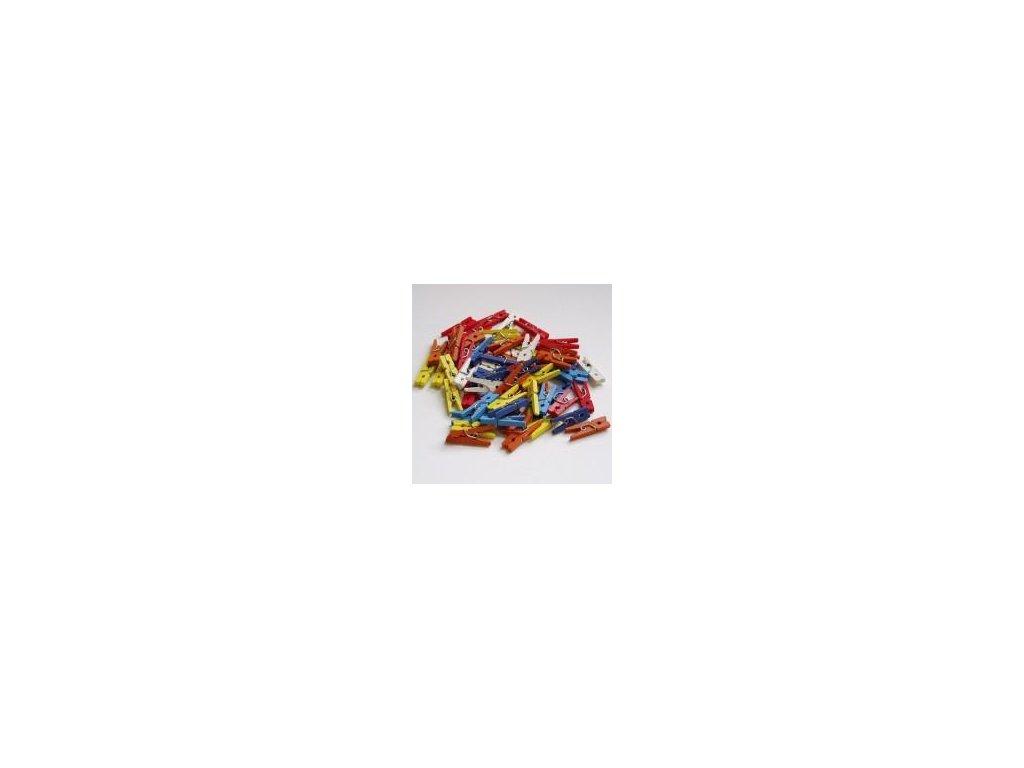 dřevěné kolíčky barevné, 35 mm, 100 ks