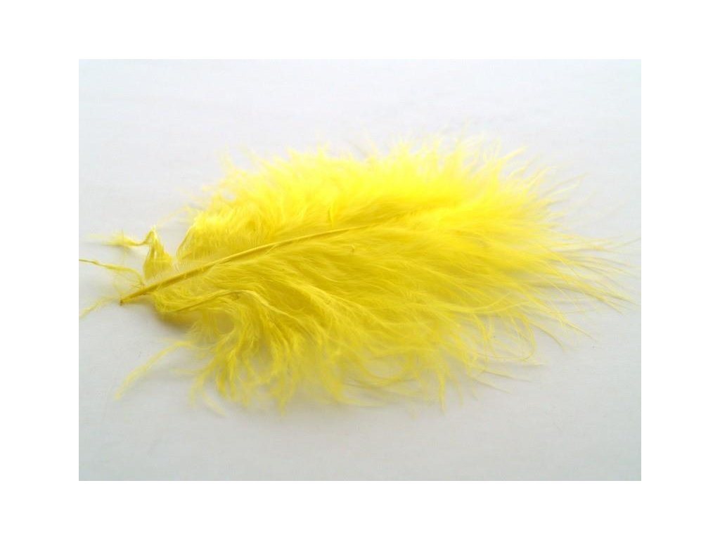 10 x peří Marabu tmavě žluté, velké