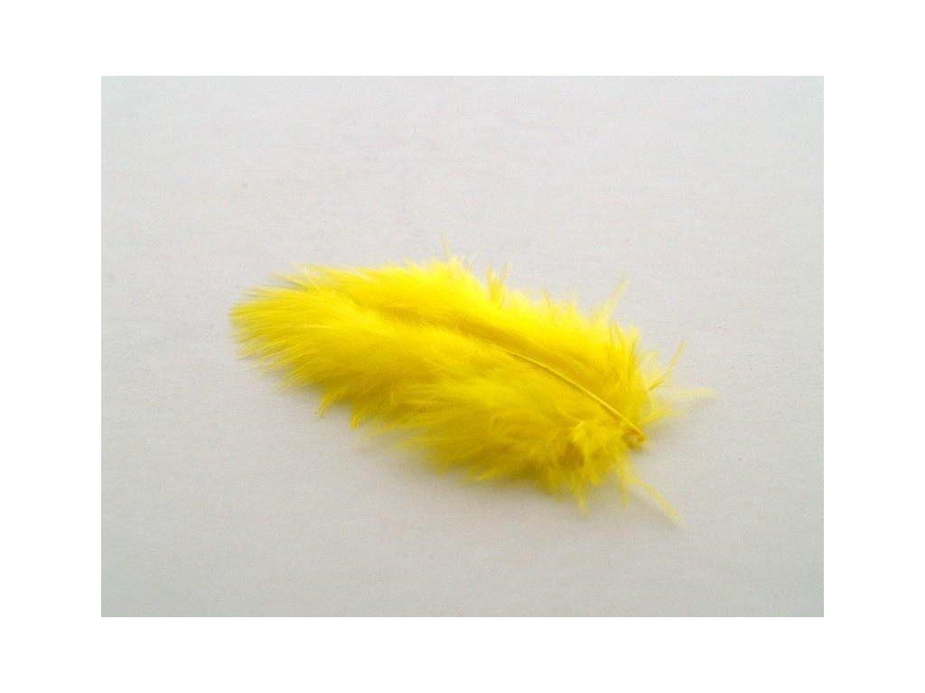 10 x peří Marabu žluté, malé